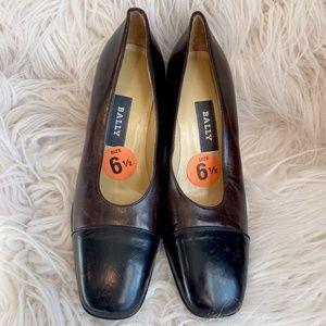 Bally Tange-U Leather Heels Brown & Black Cap Toe